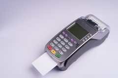 Payment terminal with white label credit card Royalty Free Stock Photos