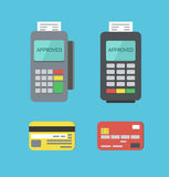 Payment Terminals And Plastic Cards. Flat Payment Terminals and Plastic Cards Stock Images