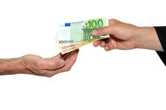 Payment three. Payment in cash between two people Royalty Free Stock Photos