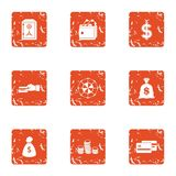 Payment transaction icons set, grunge style. Payment transaction icons set. Grunge set of 9 payment transaction vector icons for web isolated on white background Royalty Free Stock Images