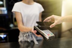 Payment transaction with smartphone stock image