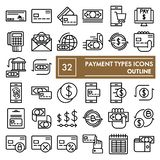 Payment types line icon set, money symbols collection, vector sketches, logo illustrations, finance signs outline. Pictograms package isolated on white stock illustration