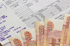 Payment of utilities and Russian money Royalty Free Stock Photos