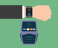 Payment via smart wristwatch Royalty Free Stock Photos