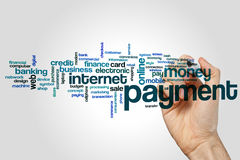 Payment word cloud. Concept on grey background royalty free stock photo