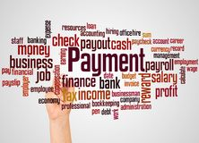 Payment word cloud and hand with marker concept. On gradient background stock photography