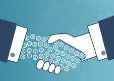 Payments with bitcoin concept. Illustration of two business men shaking hands Vector Illustration