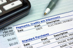 Payments, Credits and Adjustments. A credit card bill showing payment and purchase details Stock Images