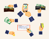 Payments icons in a flat style. Hands holding coin. Credit card and cash money. Shopping and business, banking and buy, paying commercial, vector illustration Royalty Free Stock Photo