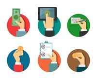 Payments illustration with hands Stock Image