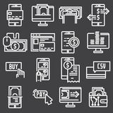 Payments online and mobile banking icons, thin line. Vector illustrations Royalty Free Stock Photo