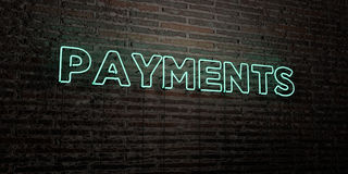 PAYMENTS -Realistic Neon Sign on Brick Wall background - 3D rendered royalty free stock image. Can be used for online banner ads and direct mailers vector illustration
