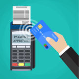 Payments using terminal and debit credit card Stock Images