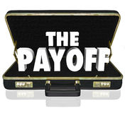 Payoff 3d Word Deal Benefit Contract Black Leather Briefcase. The Payoff 3d words in a black leather briefcase to illustrate the benefits or features of a new Stock Image