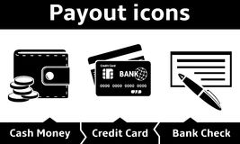 Payout icons. Vector Payout and Payments Icons Stock Image