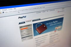 PayPal.com main internet page Stock Photography