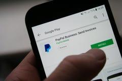 Paypal logo app na Samsung telefonu ekranie fotografia royalty free