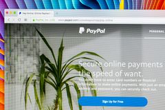Paypal website homepage on a Apple iMac monitor screen. PayPal is an international e-commerce business allowing payments and money. Sankt-Petersburg, Russia royalty free stock images