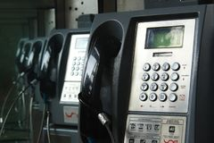 Payphone in Colombia. On the street royalty free stock photography