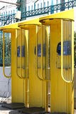 Payphones amarelos Fotografia de Stock