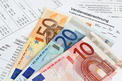Payroll with banknotes. German payroll with euro banknotes Royalty Free Stock Photography