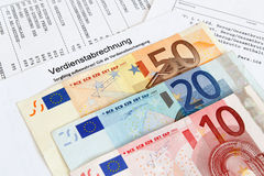 Payroll with banknotes Royalty Free Stock Photography