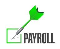 Payroll check dart sign concept illustration Stock Photo