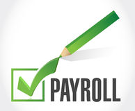 Payroll check mark sign concept illustration Stock Images
