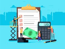 payroll Despesas, conceito do cálculo do salário Elementos gráficos do projeto liso, ícones lisos ajustados Qualidade superior ilustração royalty free