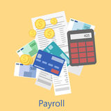 Payroll icon. Business analytics and financial audit.   flat illustration Stock Photos