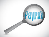 payroll magnify review sign concept illustration Royalty Free Stock Photography
