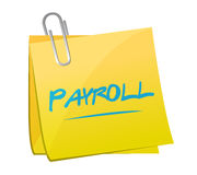 Payroll memo post sign concept illustration Stock Images