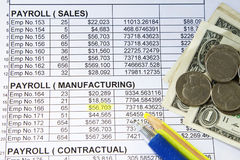 Payroll spreadsheet Royalty Free Stock Image