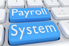 Payroll System concept. 3D illustration of computer keyboard with the script Payroll System on two adjacent pale blue buttons Royalty Free Stock Images
