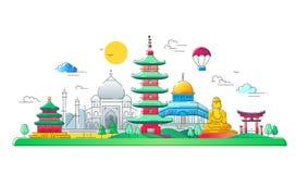 Pays asiatiques - ligne illustration de vecteur de voyage illustration de vecteur