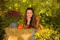 Pays d'automne - femme posant sur un foin photos stock