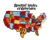 Pays de carte des Etats-Unis, Etats-Unis d'Amérique Illustration de vecteur de lettrage illustration de vecteur