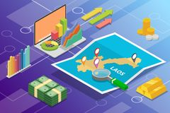 Pays de croissance d'économie d'affaires du Laos avec la carte et la condition de finances - illustration de vecteur photographie stock