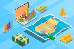 Pays de croissance d'économie d'affaires de Kamboja avec la carte et la condition de finances - illustration de vecteur photos stock