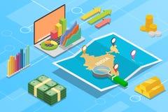 Pays de croissance d'économie d'affaires de l'Inde avec la carte et la condition de finances - illustration de vecteur images libres de droits