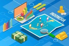 Pays de croissance d'économie d'affaires de l'Indonésie avec la carte et la condition de finances - illustration de vecteur image stock