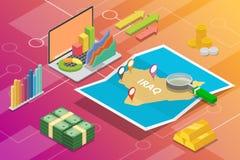 Pays de croissance d'économie d'affaires de l'Irak avec la carte et la condition de finances - illustration de vecteur photos libres de droits