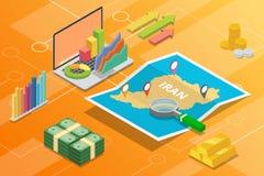 Pays de croissance d'économie d'affaires de l'Iran avec la carte et la condition de finances - illustration de vecteur images stock