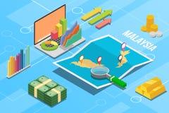Pays de croissance d'économie d'affaires de la Malaisie avec la carte et la condition de finances - illustration de vecteur photographie stock