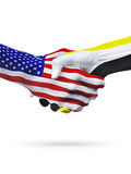 Pays de drapeaux Etats-Unis et du Brunei, poignée de main d'association image stock