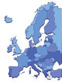 Pays de l'Europe dans des couleurs bleues Photos stock