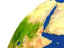 Pays de vue de satellite de Djibouti Image libre de droits