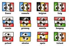 Pays et ballons de football de drapeaux illustration stock