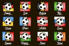 Pays et ballons de football de drapeaux Images stock