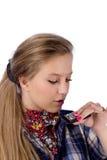 Pays-fille avec l'harmonica Photos libres de droits
